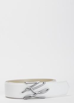 Белый ремень Karl Lagerfeld с фирменной пряжкой, фото