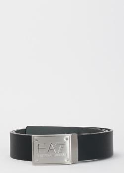 Черный ремень EA7 Emporio Armani с фирменной пряжкой, фото