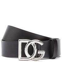 Черный ремень Dolce&Gabbana из гладкой кожи, фото