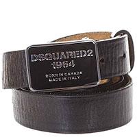 Черный ремень Dsquared2 с фирменной пряжкой, фото
