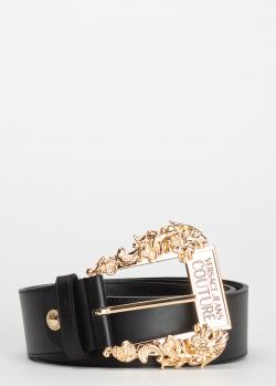 Черный ремень Versace Jeans Couture с золотистой пряжкой, фото