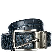 Темно-синий двусторонний ремень Emporio Armani с тиснением кроко, фото