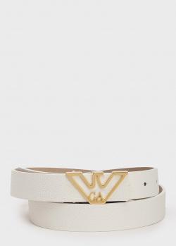 Белый ремень Emporio Armani из зернистой кожи, фото