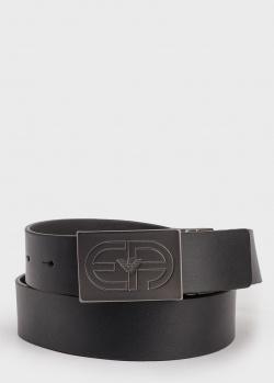 Черный ремень Emporio Armani из гладкой кожи, фото