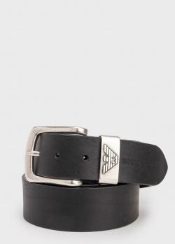 Черный ремень Emporio Armani с лого на пряжке, фото
