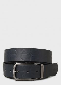 Темно-синий ремень Emporio Armani с фирменным тиснением, фото