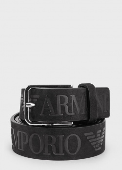 Ремень из кожи Emporio Armani с фирменным тиснением, фото
