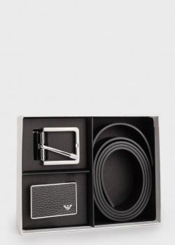 Ремень из зернистой кожи Emporio Armani со сменными пряжками, фото