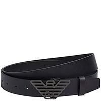 Черный ремень Emporio Armani с брендовой пряжкой, фото