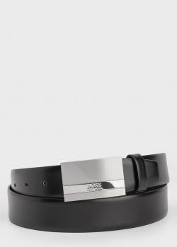 Кожаный ремень Hugo Boss с серебристой пряжкой, фото