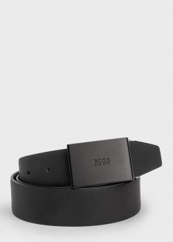Кожаный ремень Hugo Boss черного цвета, фото