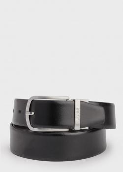 Ремень из гладкой кожи Hugo Boss черного цвета, фото