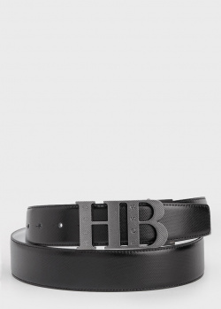 Черный ремень Hugo Boss из фактурной кожи, фото
