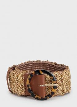 Ремень Max Mara Salice с леопардовой пряжкой, фото