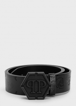 Черный ремень Philipp Plein с фирменной пряжкой, фото