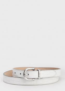Белый ремень Polo Ralph Lauren с тиснением кроко, фото