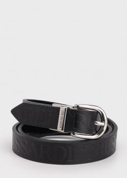 Кожаный ремень Trussardi с брендовым тиснением, фото