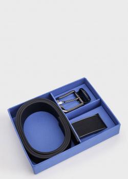 Черный ремень Trussardi с двумя пряжками, фото