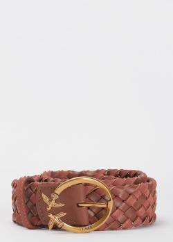 Коричневый ремень Pinko из плетеной кожи и замши, фото