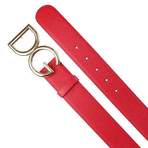 Красный ремень Dolce&Gabbana с фирменной пряжкой, фото
