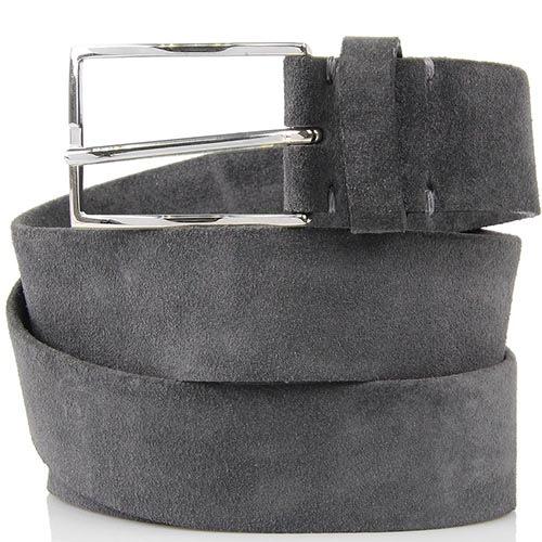 Мужской ремень Andrea D Amico из мягкой замши серого цвета, фото