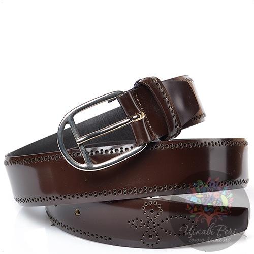 Ремень Andrea D Amico мужской кожаный коричневый с перфорацией, фото