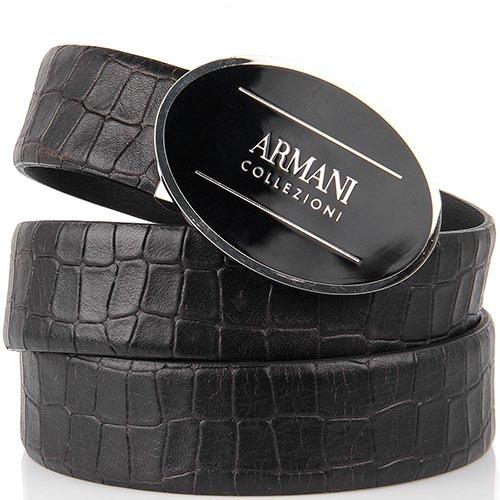 Женский ремень Armani Collezioni черного цвета из кожи с тиснением под крокодила, фото