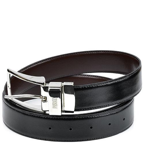 Ремень GF Ferre мужской кожаный двусторонний черно-коричневый, фото