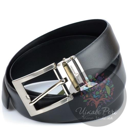 Ремень Luciano Barbera черный кожаный с классической пряжкой, фото