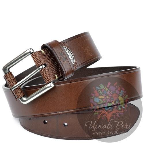Ремень La Martina мужской кожаный коричневый с серебристой пряжкой, фото