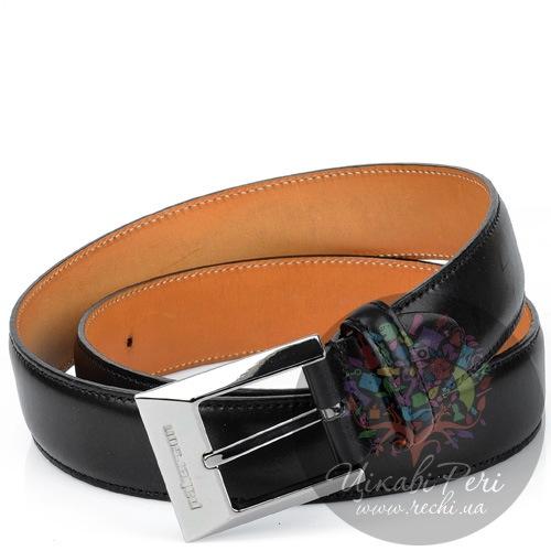 Ремень Pakerson мужской кожаный черный с серебристой пряжкой, фото