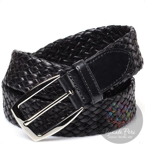 Ремень Brioni мужской кожаный черный плетеный, фото