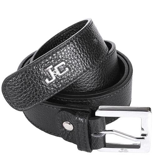 Ремень Jacky Celine черного цвета с металлическим логотипом и квадратной пряжкой, фото
