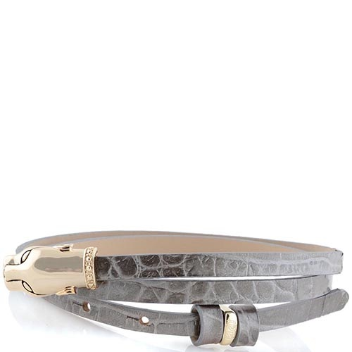 Женский ремень Cavalli Class кожаный узенький бежево-серый лаковый под крокодила с золотой головой леопарда, фото