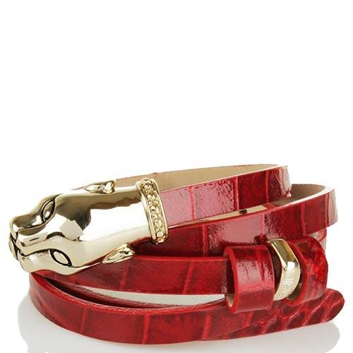 Ремень Cavalli Class тонкий из рельефной кожи под крокодила красного цвета, фото