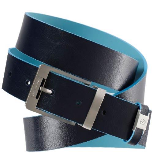 Синий мужской ремень Piquadro Blue Square из гладкой кожи, фото