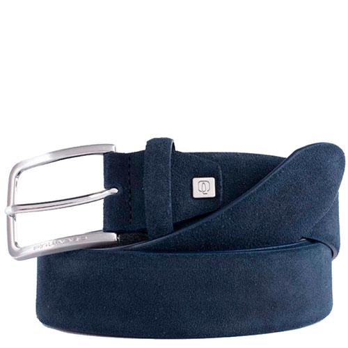 Ремень Piquadro Cintura из синей замши, фото