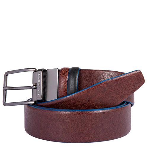 Ремень Piquadro Blue Square коричневого цвета двусторонний, фото