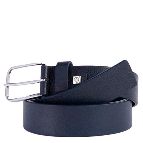 Ремень Piquadro Cintura из натуральной кожи синего цвета, фото