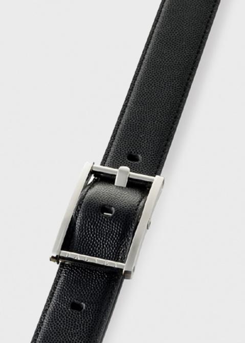 Ремень Dalvey Statesman из черной кожи Caviar, фото