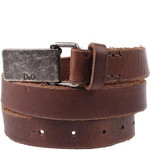 Кожаный ремень Dolce & Gabbana коричневого цвета, фото