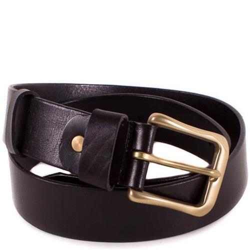 Ремень Eterno кожаный черный со стальной пряжкой цвета бронзы, фото