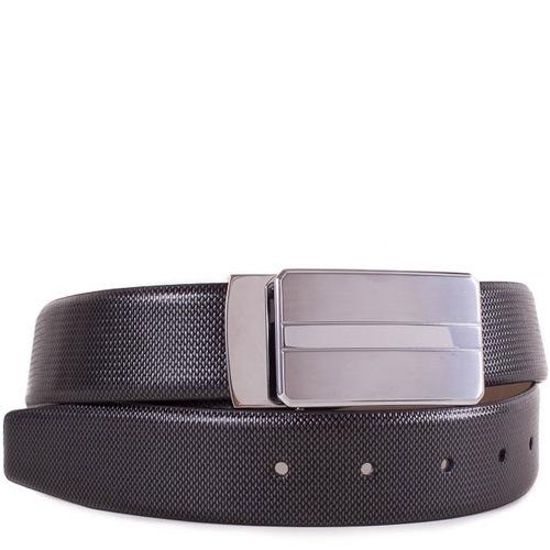 Ремень Eterno черный кожаный с рельефной поверхностью и серебристой пряжкой, фото