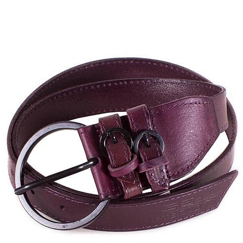 Ремень Eterno женский кожаный фиолетово-сливовый с крупной пряжкой, фото