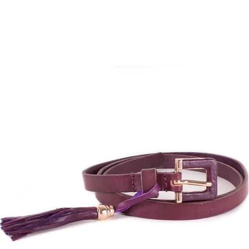 Ремень Eterno женский кожаный фиолетово-сливовый тонкий с кистью, фото