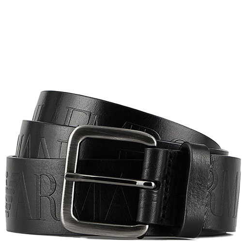 Ремень с брендовым тиснением Emporio Armani в черном цвете, фото