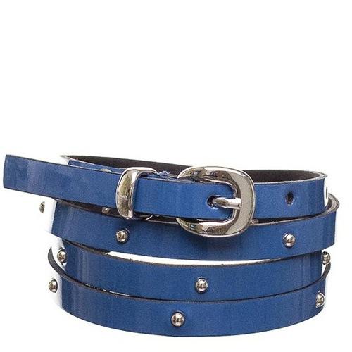 Ремень Bagatt лаковый синий тонкий с заклепками, фото