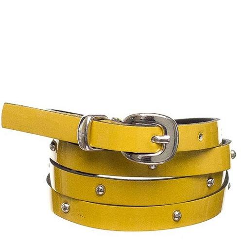 Ремень Bagatt лаковый желтый тонкий с заклепками, фото