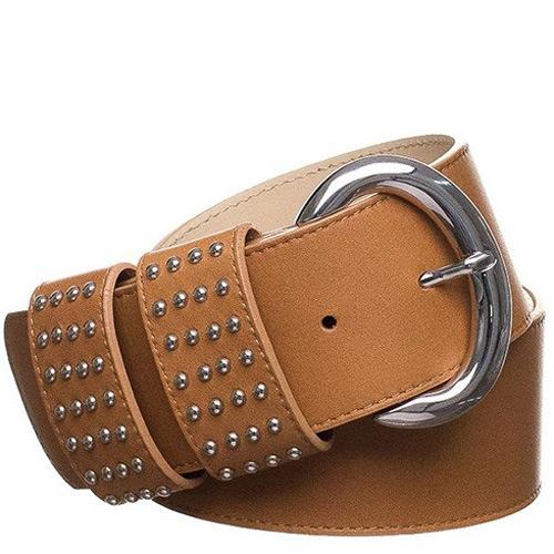 Ремень Bagatt кожаный темно-бежевый широкий с заклепками на шлевках, фото