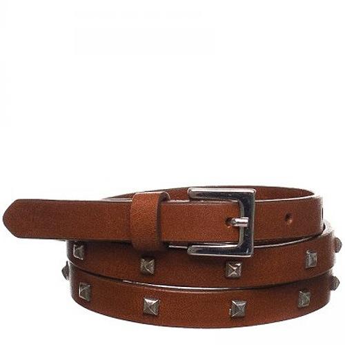 Ремень Bagatt кожаный коричневый узкий со сглаженными шипами и пряжкой стального цвета, фото